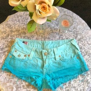 True Religion Ombre Blue Denim Shorts